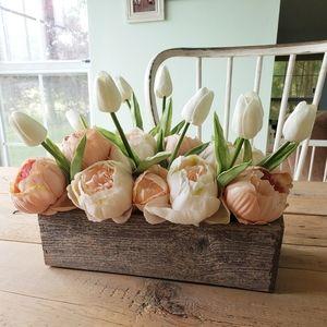 Peonies Tuilip Farmhouse Floral Arrangement